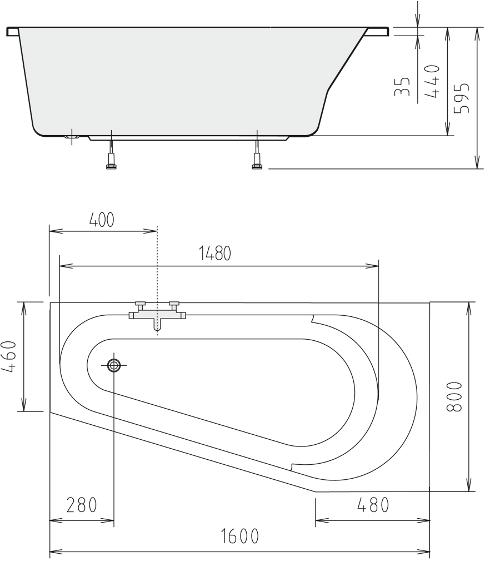 raumsparbadewanne olivia 160 lr sch rze farblicht m gl ebay. Black Bedroom Furniture Sets. Home Design Ideas