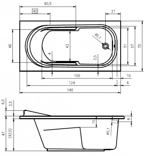 rechteck badewanne dublin 140 x 70 x 47 cm acryl 70 x 140 markenwanne f r das kleine bad. Black Bedroom Furniture Sets. Home Design Ideas