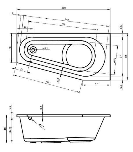 raumspar badewanne den haag 160 x 80 x 48 cm links rechts. Black Bedroom Furniture Sets. Home Design Ideas