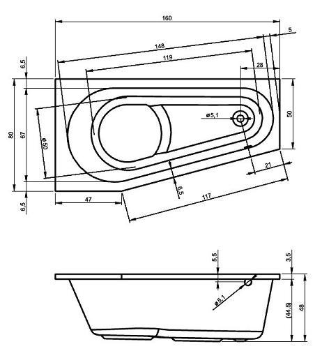 raumspar badewanne den haag 160 x 80 x 48 cm links rechts acryl 80 x 160 markenbadewanne f r. Black Bedroom Furniture Sets. Home Design Ideas