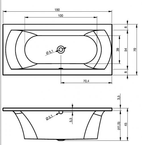acryl rechteck badewanne lissabon 150 x 70. Black Bedroom Furniture Sets. Home Design Ideas