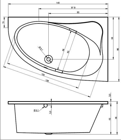 Raumspar Badewanne Lyon 140 X 90 X 46 5 Cm Links Rechts Acryl 90 X