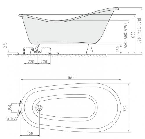 Freistehende badewanne maße  Freistehende Retro Badewanne Rectime 160 x 80 cm