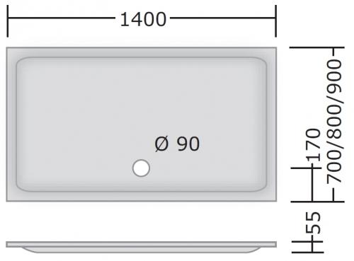 acryl rechteck duschwanne 2 140 x 80 x 2 5 cm. Black Bedroom Furniture Sets. Home Design Ideas